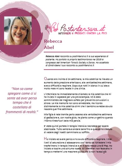 Rebecca Abel racconta la sua esperienza di terapia intensiva